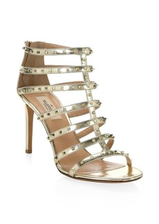 Valentino Lovestud Metallic Leather Gladiator Sandals
