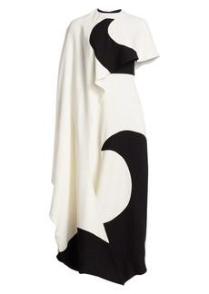 Valentino Luna Cape Effect Graphic Column Gown