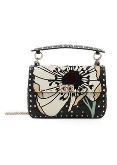 Valentino Medium Floral Leather Stud Shoulder Bag