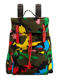 Valentino Men's Bright Camouflage Backpack
