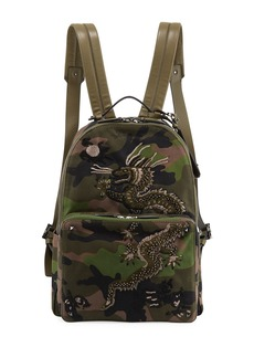 Valentino Men's Camo-Print Denim Dragon Backpack Bag