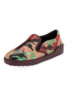 Valentino Men's Camo-Print Leather Slip-On Sneakers