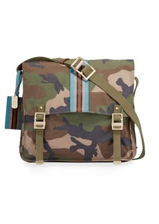 Valentino Men's Camo-Print Stripe Canvas Messenger Bag