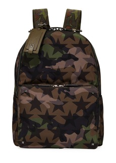 Valentino Men's Camo Star-Print Nylon Backpack Bag