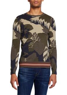 Valentino Men's Cashmere-Blend Camo & Floral-Print Sweater