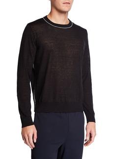 Valentino Men's Contrast Trim Linen-Cashmere Sweater