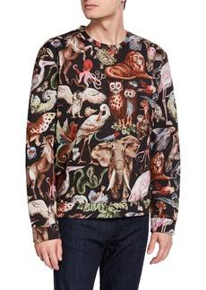 Valentino Men's Felpa Animal-Print Sweatshirt