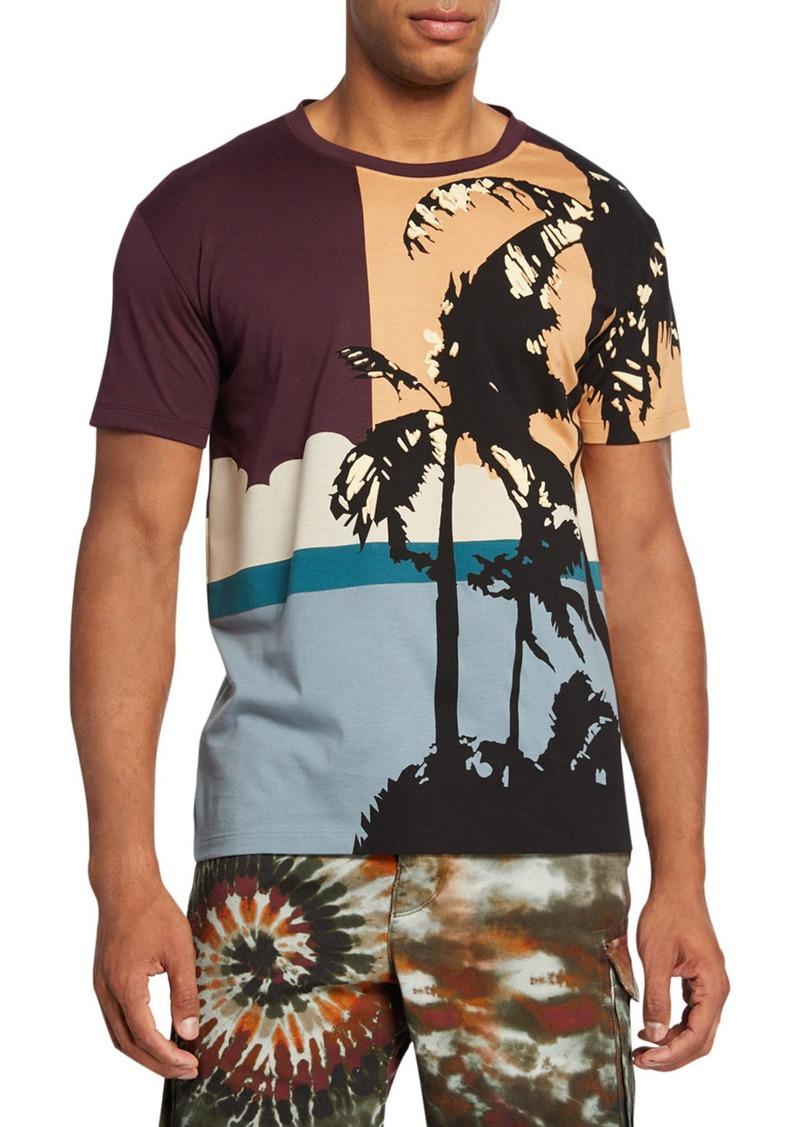Valentino Men's Hawaii Colorblock Jersey Graphic T-Shirt