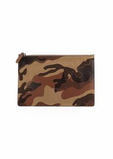 Valentino Men's Leather Camouflage Zip Clutch