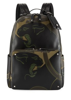 Valentino Men's Panther-Print Leather Backpack Bag