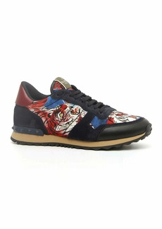 Valentino Men's Rock Runner Tiger-Print Trainer Sneakers