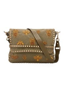 Valentino Men's Small Studded Embroidered Messenger Bag