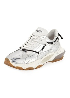 Valentino Men's Speckled Metallic-Leather Dad Sneakers