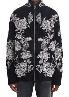 Men's Valentino Floral Print Ribbed Full Zip Sweater