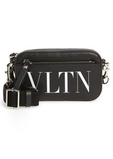 Men's Valentino Garavani Small Vltn Times Leather Convertible Crossbody Bag - Black