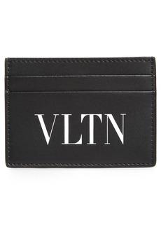 Men's Valentino Garavani Vltn Leather Card Holder - Black
