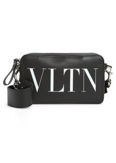 Men's Valentino Garavani Vltn Leather Crossbody Bag - Black