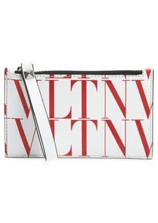 Men's Valentino Garavani Vltn Times Leather Zip Card Holder - White