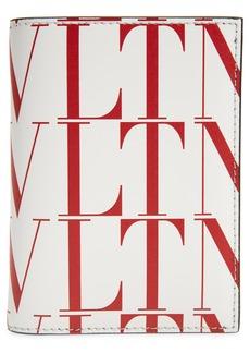 Men's Valentino Garavani Vltn Times Vertical Leather Card Case - White