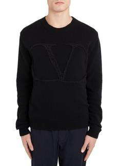 Men's Valentino Vlogo Crewneck Wool & Cashmere Sweater