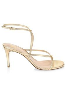 Valentino Garavani Ankle-Wrap Metallic Leather Sandals