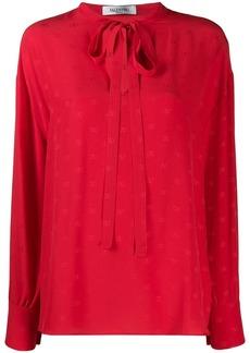Valentino micro jacquard logo blouse