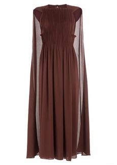 Valentino Midi-Length Pleated Silk Dress with Cape