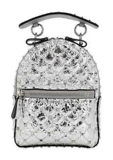 Valentino Mini Spike Laminated Leather Backpack