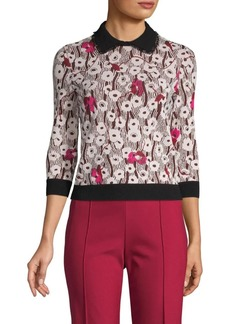Valentino Mixed-Print Collared Sweater