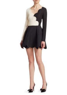 Valentino Monochrome Scallop Dress