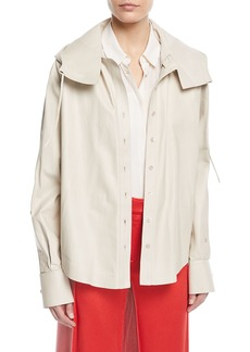Valentino Napa Leather Button-Down Hooded Anorak Jacket