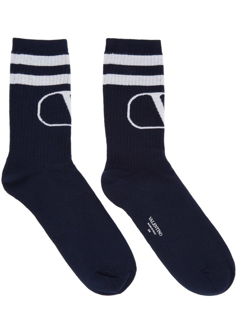 Navy & Grey Valentino Garavani VLogo Socks