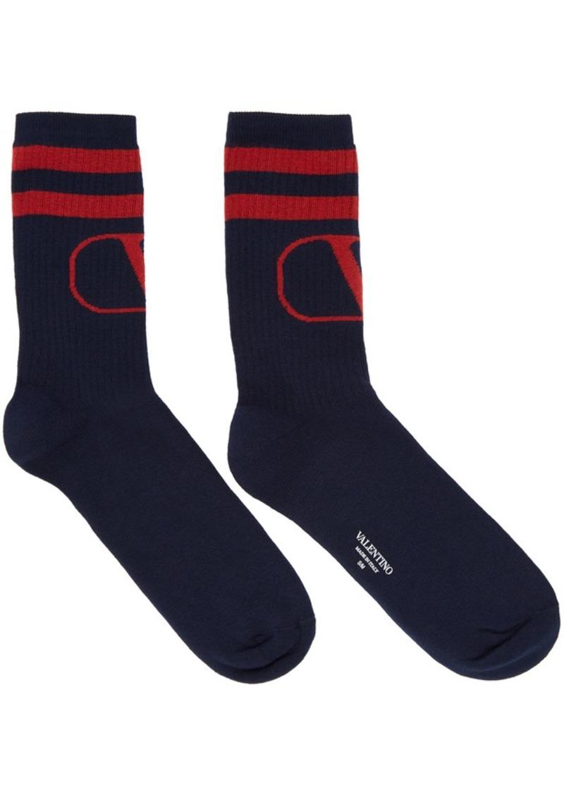 Navy & Red Valentino Garavani VLogo Socks