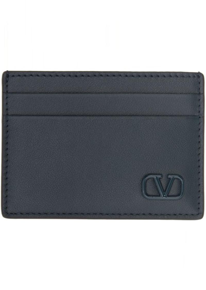 Navy Valentino Garavani Small VLogo Card Holder