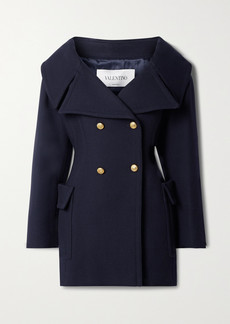 Valentino Off-the-shoulder Double-breasted Wool-twill Coat