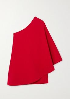 Valentino One-sleeve Cape-effect Wool-blend Crepe Mini Dress