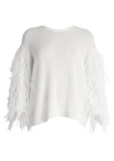 Valentino Ostrich Feather-Sleeve Virgin Wool & Cashmere Sweater
