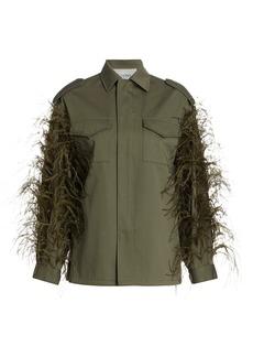 Valentino Ostrich-Feather Utility Jacket