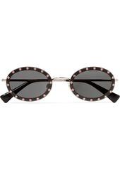 Valentino Garavani Oval-frame Crystal-embellished Acetate And Gold-tone Sunglasses