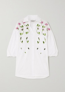 Valentino Oversized Embellished Cotton-poplin Blouse