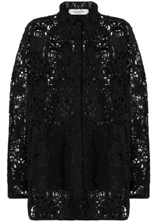 Valentino oversized floral lace long-sleeve shirt