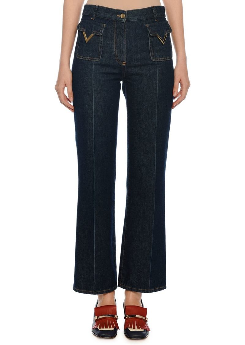 Valentino Patch Pocket V-Hardware Ankle Jeans