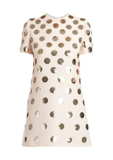 Valentino Patchy Dots Sequin Silk Dress