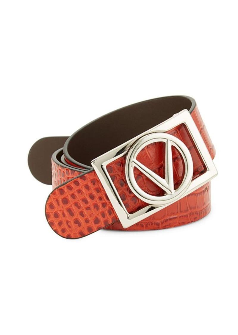 Valentino Pierre Croco-Embossed Belt