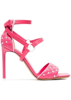 Valentino pink Rockstud Spike 105 quilted leather sandals