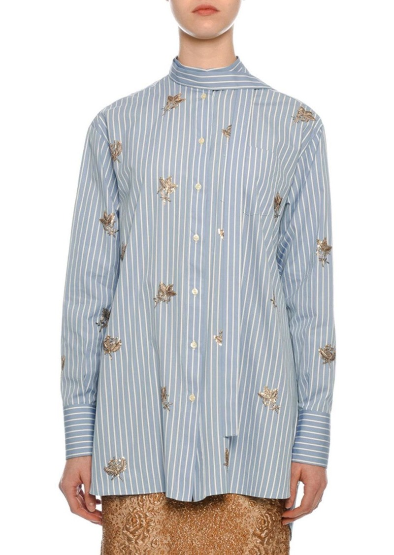 Valentino Pinstriped Sequined Button-Front Blouse