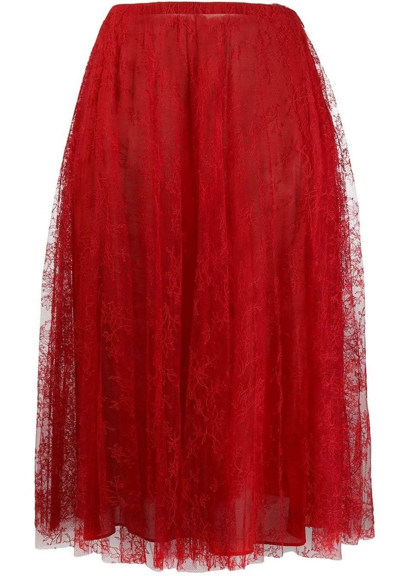 Valentino pleated chantilly lace skirt