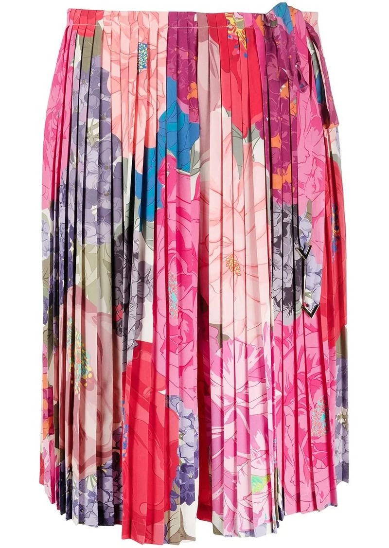 Valentino pleated floral print skirt