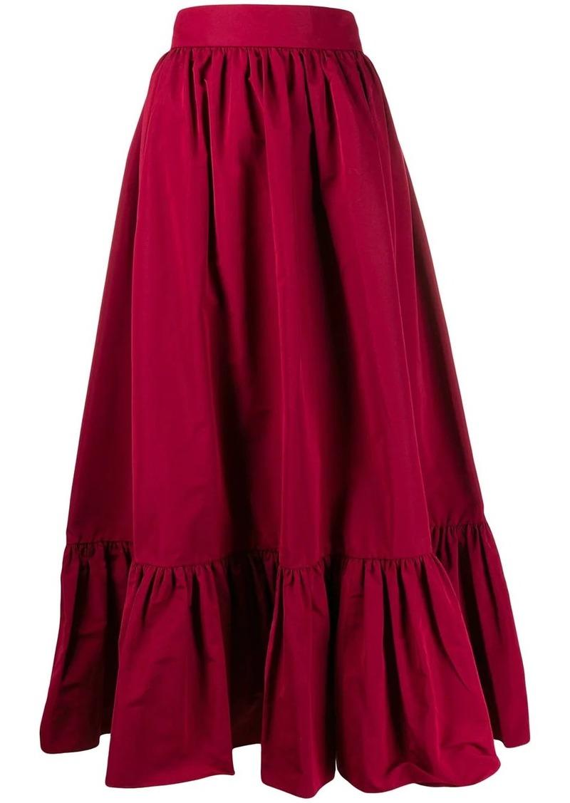 Valentino pleated hem A-line skirt