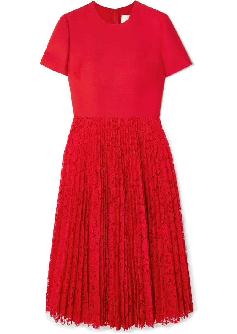 Valentino Pleated Lace And Crepe Midi Dress